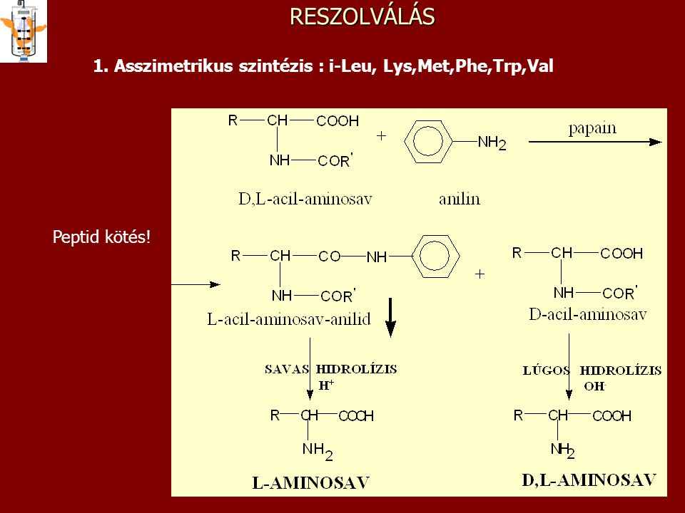 RESZOLVÁLÁS 1. Asszimetrikus szintézis : i-Leu, Lys,Met,Phe,Trp,Val