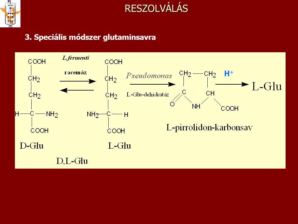 RESZOLVÁLÁS 3. Speciális módszer glutaminsavra H+