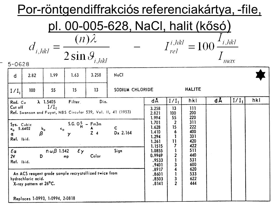 Por-röntgendiffrakciós referenciakártya, -file, pl