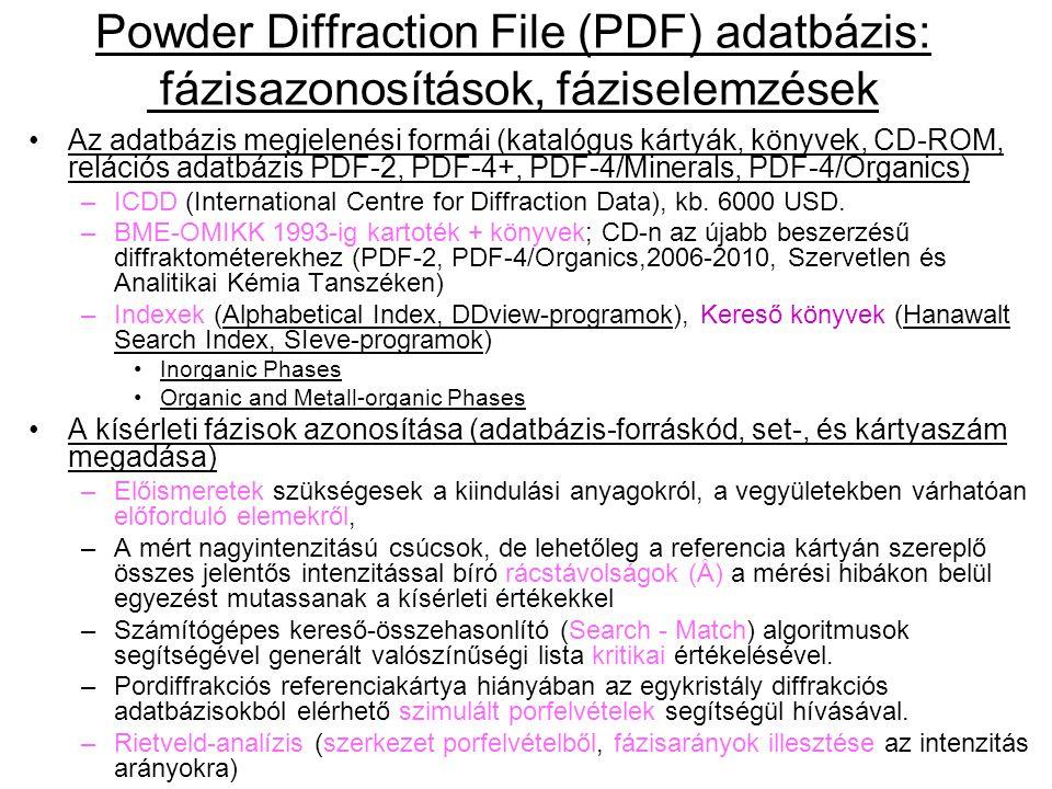 Powder Diffraction File (PDF) adatbázis: fázisazonosítások, fáziselemzések