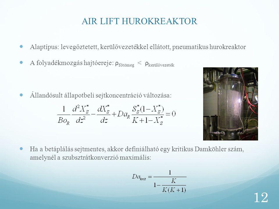 AIR LIFT HUROKREAKTOR Alaptípus: levegőztetett, kerülővezetékkel ellátott, pneumatikus hurokreaktor.