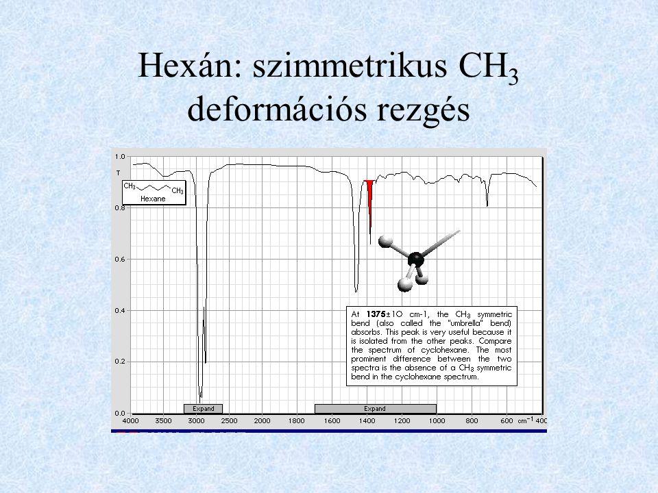 Hexán: szimmetrikus CH3 deformációs rezgés