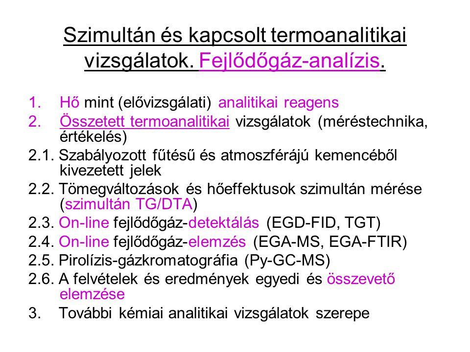 Szimultán és kapcsolt termoanalitikai vizsgálatok. Fejlődőgáz-analízis.