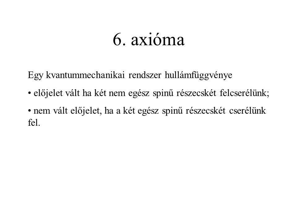 6. axióma Egy kvantummechanikai rendszer hullámfüggvénye