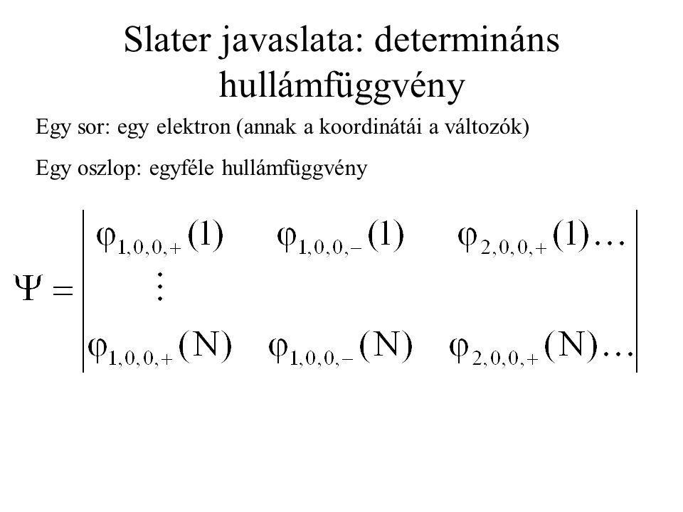 Slater javaslata: determináns hullámfüggvény
