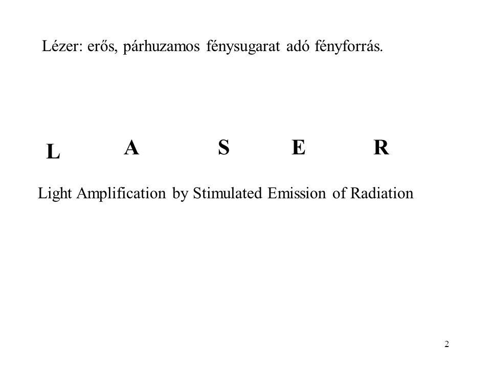 A S E R L Lézer: erős, párhuzamos fénysugarat adó fényforrás.