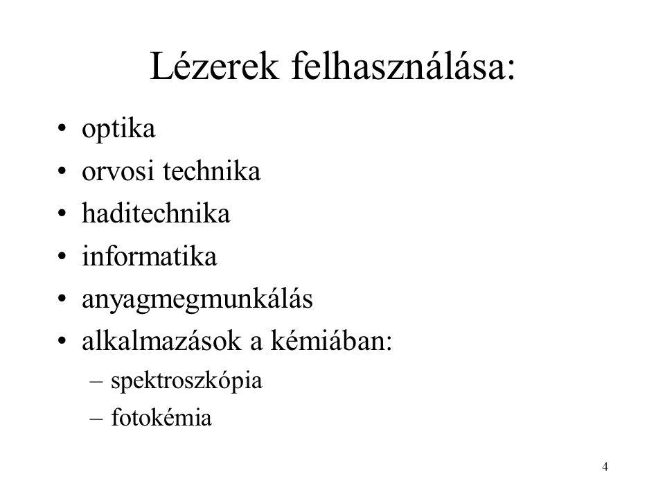 Lézerek felhasználása: