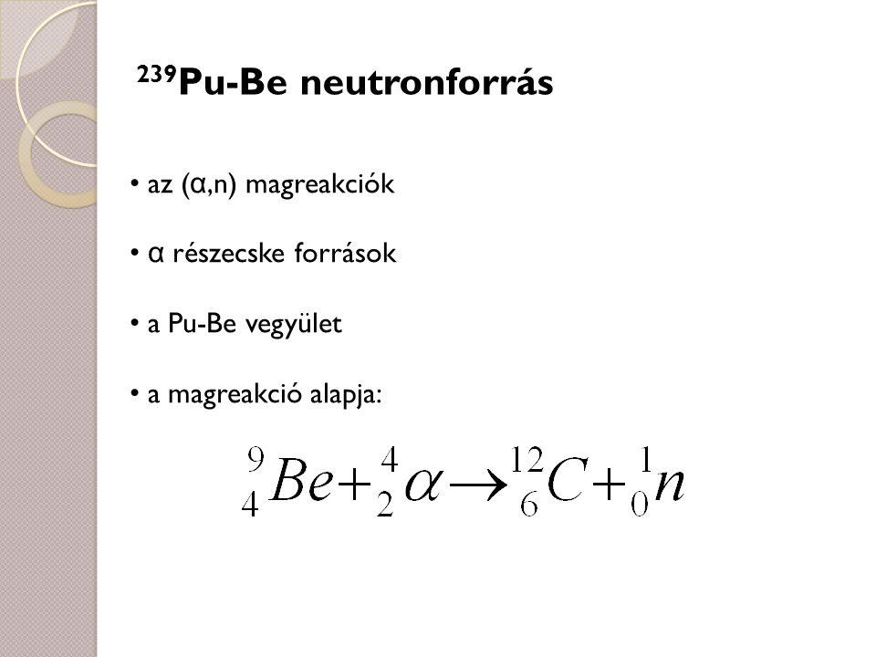 239Pu-Be neutronforrás az (α,n) magreakciók α részecske források