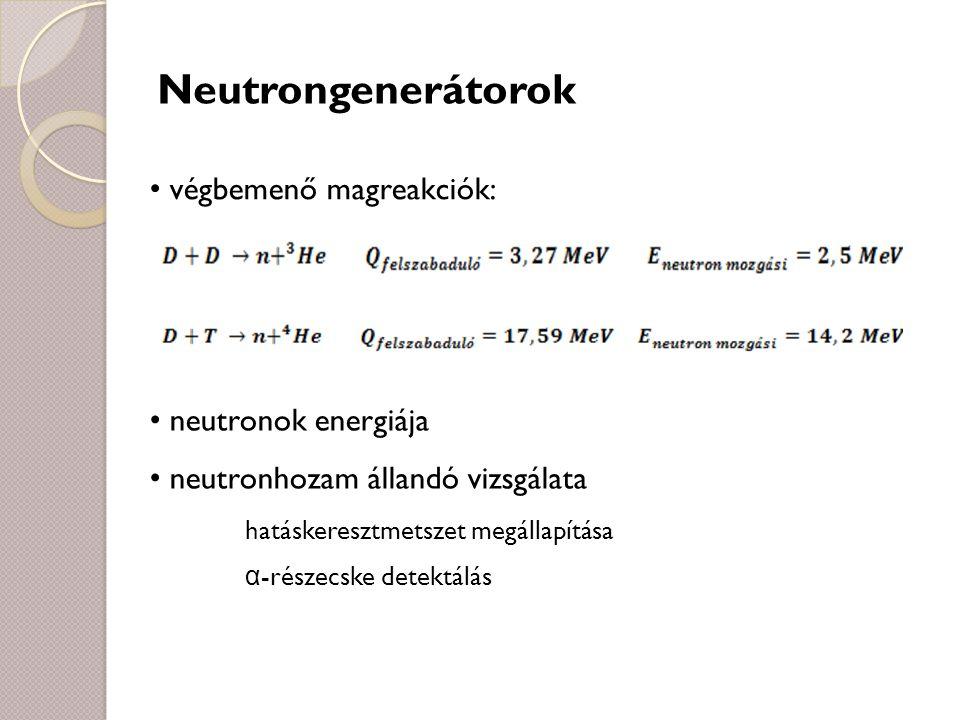 Neutrongenerátorok végbemenő magreakciók: neutronok energiája
