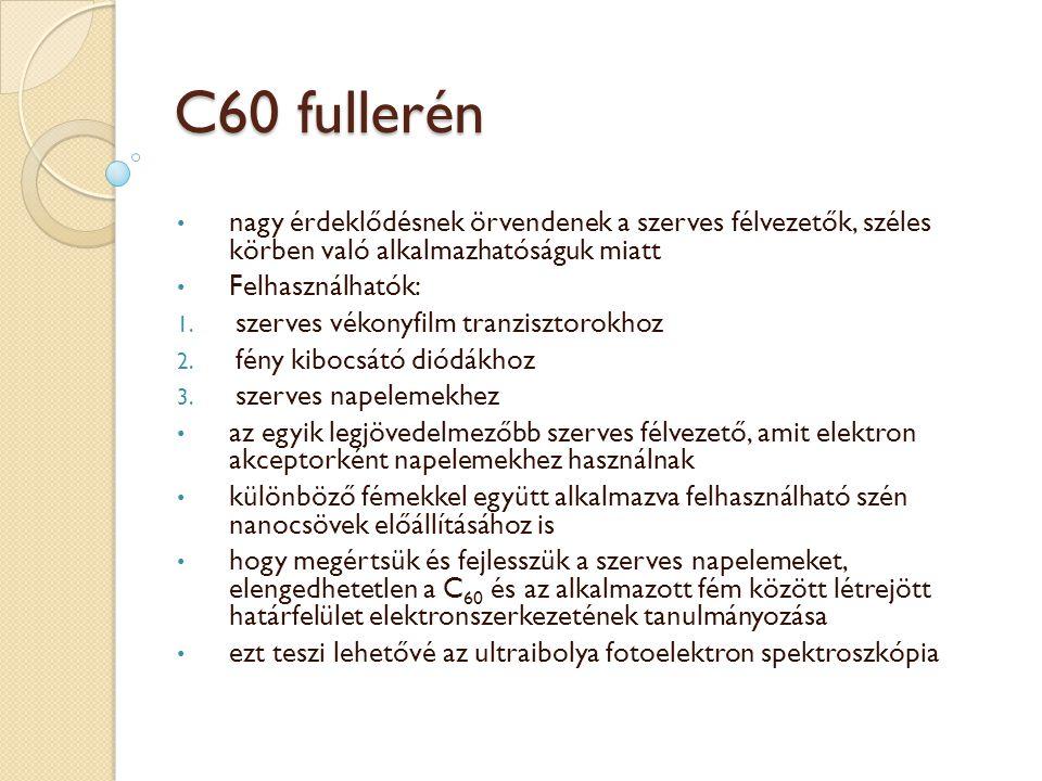 C60 fullerén nagy érdeklődésnek örvendenek a szerves félvezetők, széles körben való alkalmazhatóságuk miatt.