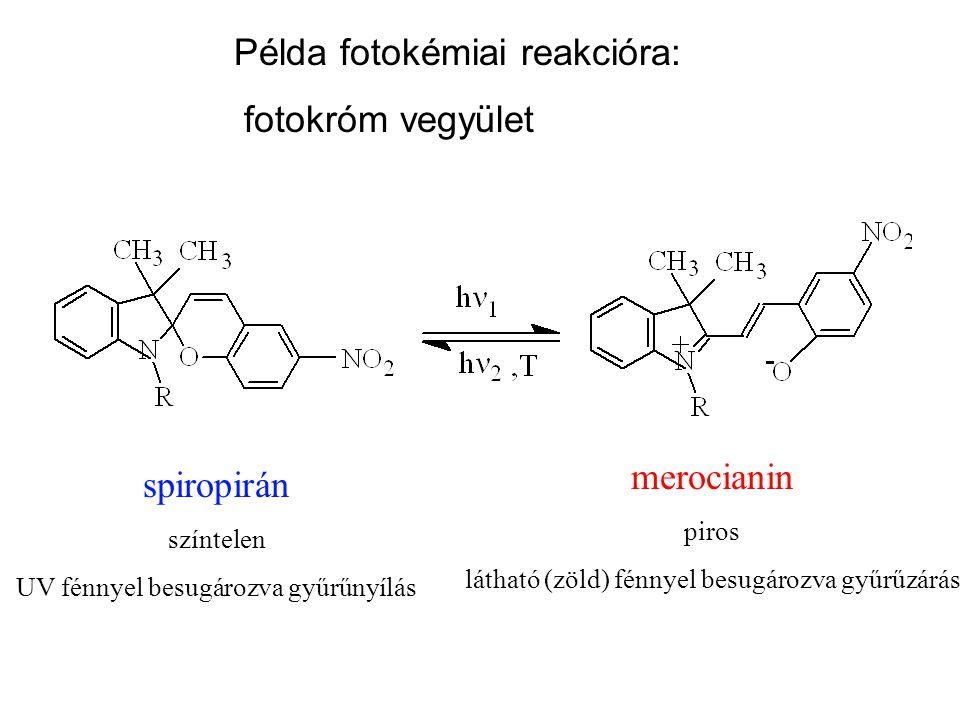Példa fotokémiai reakcióra: fotokróm vegyület