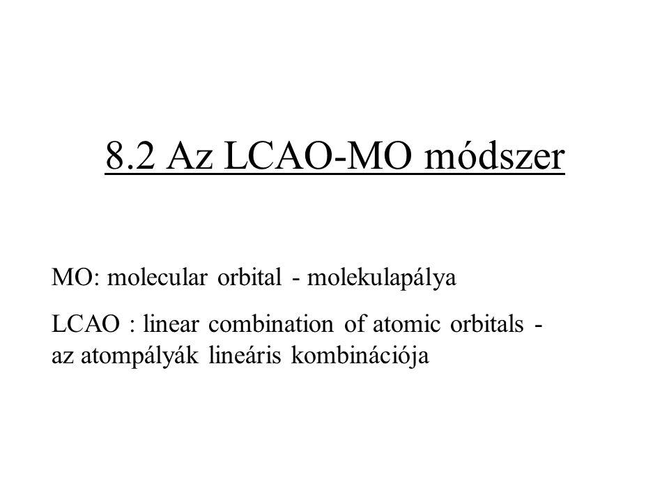 8.2 Az LCAO-MO módszer MO: molecular orbital - molekulapálya