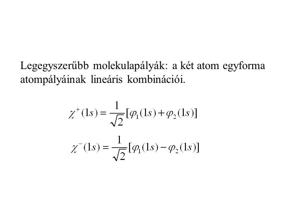 Legegyszerűbb molekulapályák: a két atom egyforma atompályáinak lineáris kombinációi.