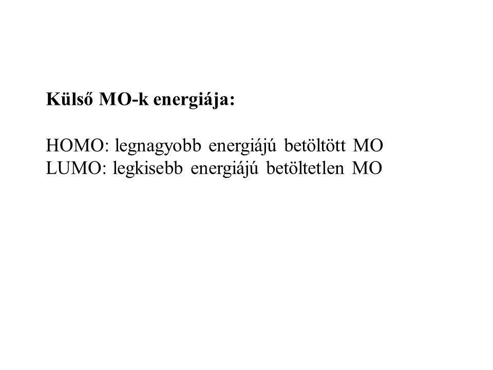 Külső MO-k energiája: HOMO: legnagyobb energiájú betöltött MO.