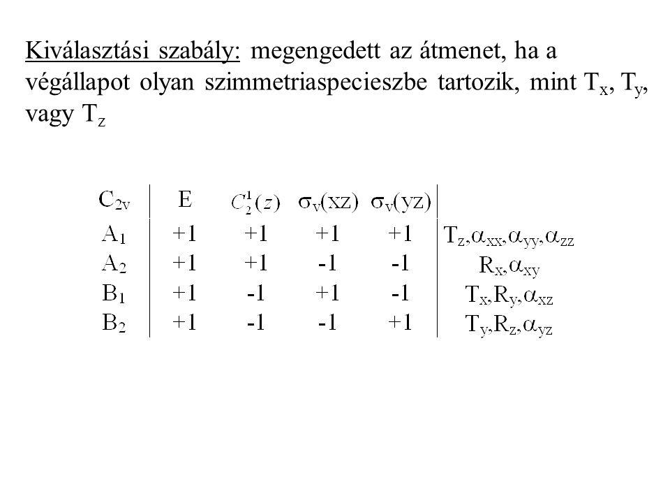 Kiválasztási szabály: megengedett az átmenet, ha a végállapot olyan szimmetriaspecieszbe tartozik, mint Tx, Ty, vagy Tz