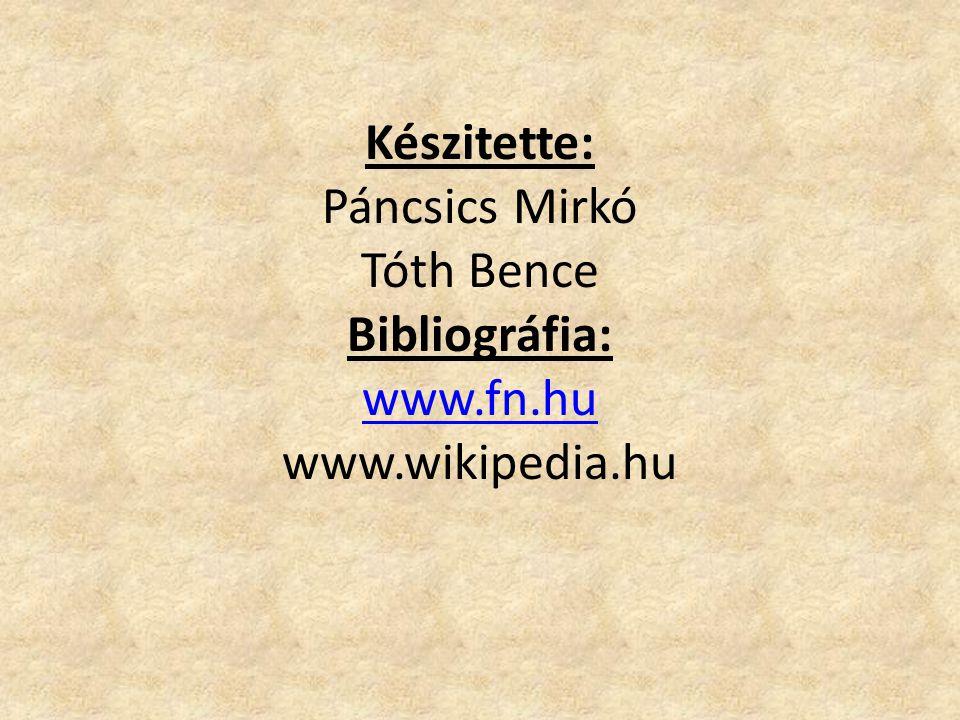 Készitette: Páncsics Mirkó Tóth Bence Bibliográfia: www. fn. hu www