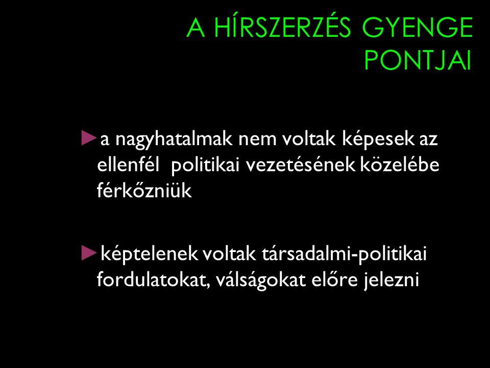 A HÍRSZERZÉS GYENGE PONTJAI