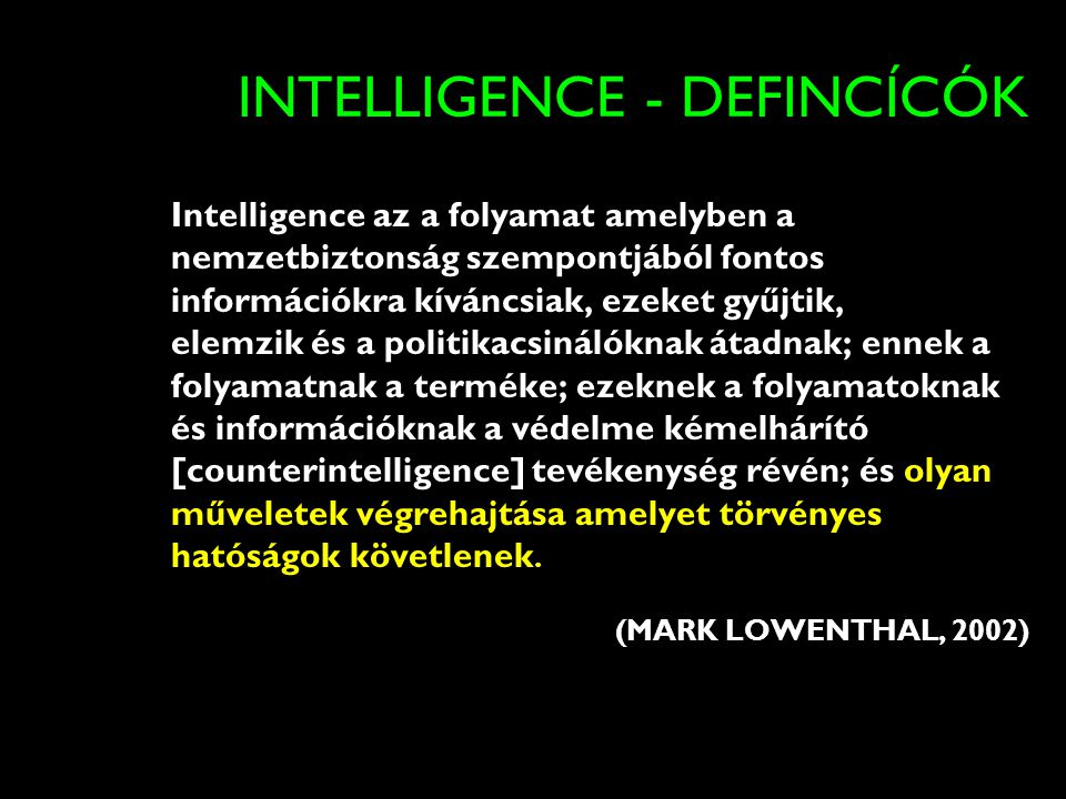 INTELLIGENCE - DEFINCÍCÓK