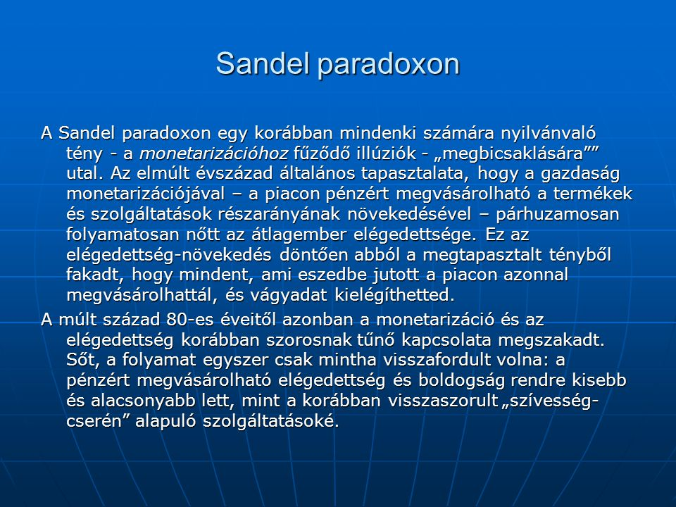 Sandel paradoxon
