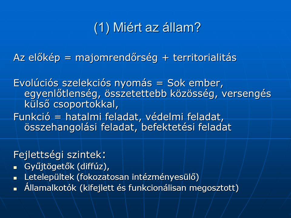 (1) Miért az állam Az előkép = majomrendőrség + territorialitás