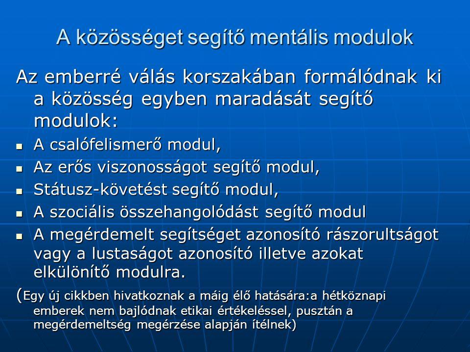 A közösséget segítő mentális modulok