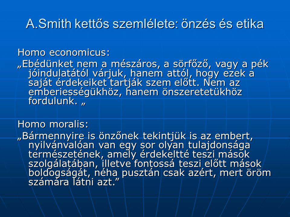 A.Smith kettős szemlélete: önzés és etika