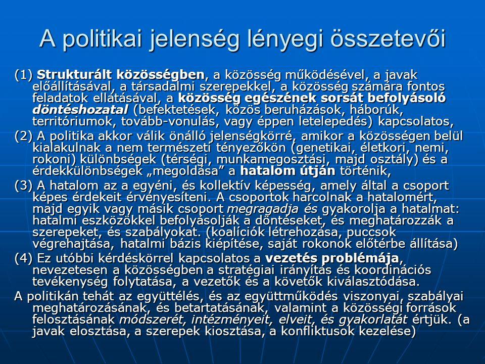 A politikai jelenség lényegi összetevői