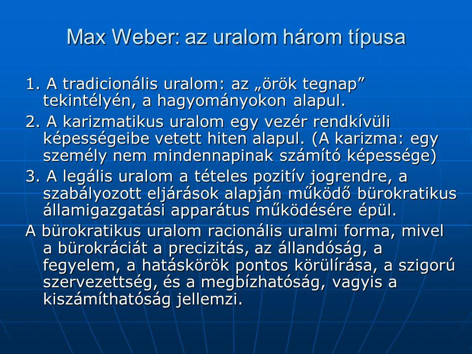 Max Weber: az uralom három típusa
