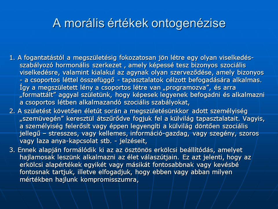 A morális értékek ontogenézise