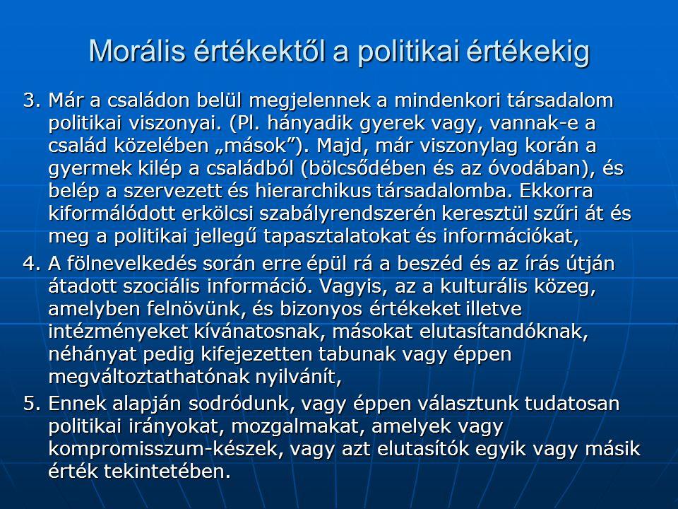 Morális értékektől a politikai értékekig