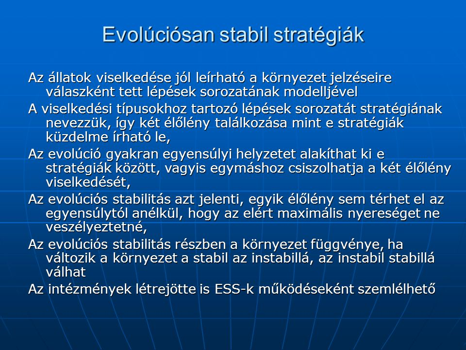 Evolúciósan stabil stratégiák