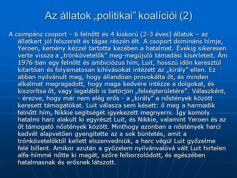 """Az állatok """"politikai koalíciói (2)"""