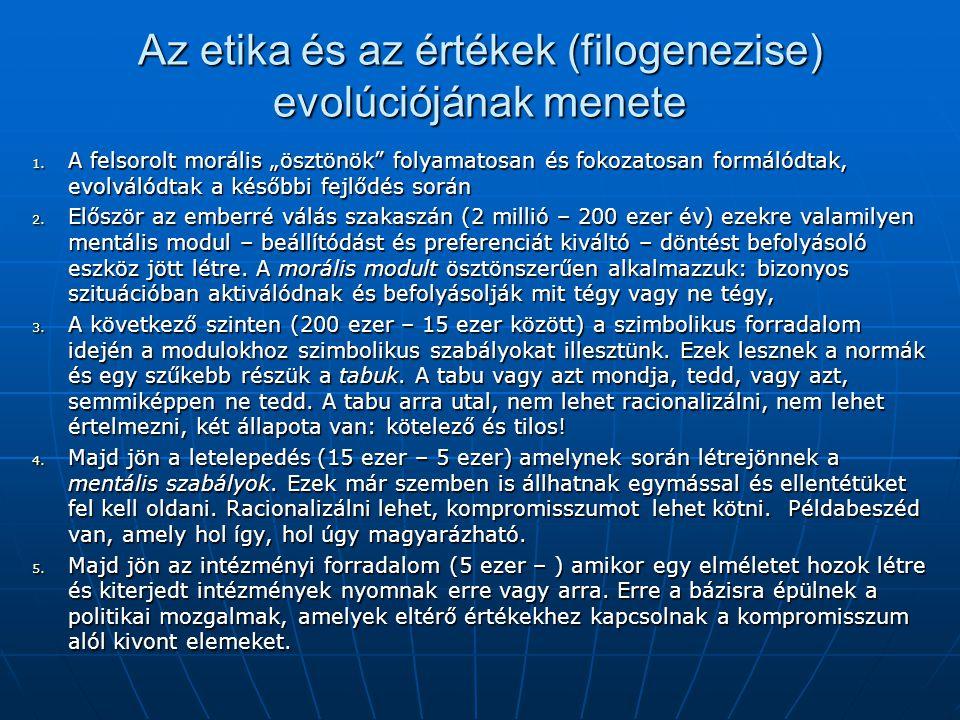 Az etika és az értékek (filogenezise) evolúciójának menete