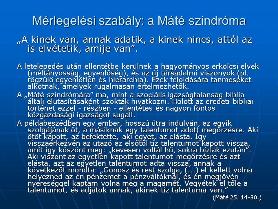 Mérlegelési szabály: a Máté szindróma