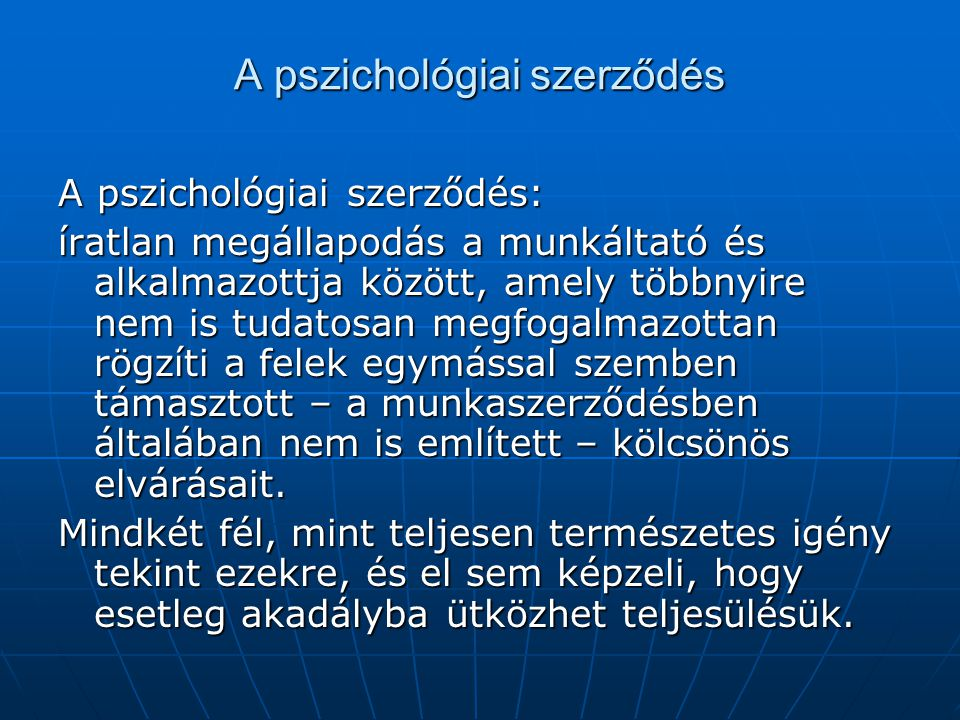 A pszichológiai szerződés