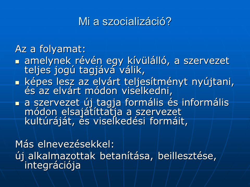 Mi a szocializáció Az a folyamat: