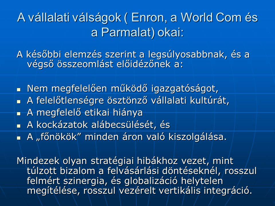 A vállalati válságok ( Enron, a World Com és a Parmalat) okai: