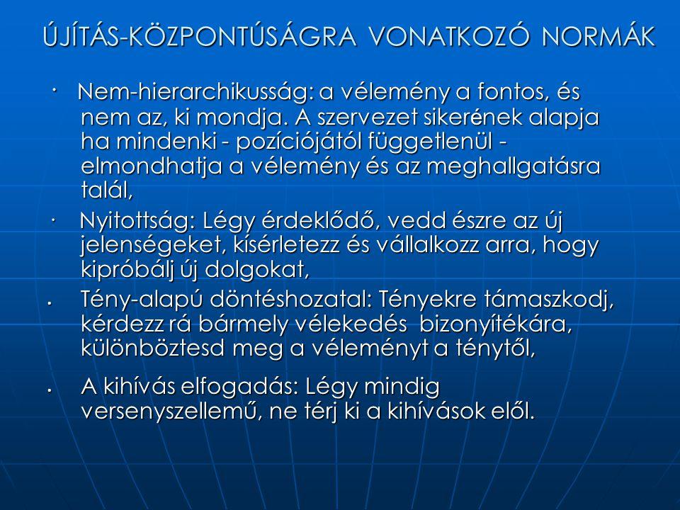 ÚJÍTÁS-KÖZPONTÚSÁGRA VONATKOZÓ NORMÁK