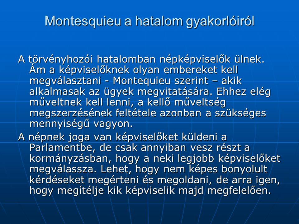 Montesquieu a hatalom gyakorlóiról