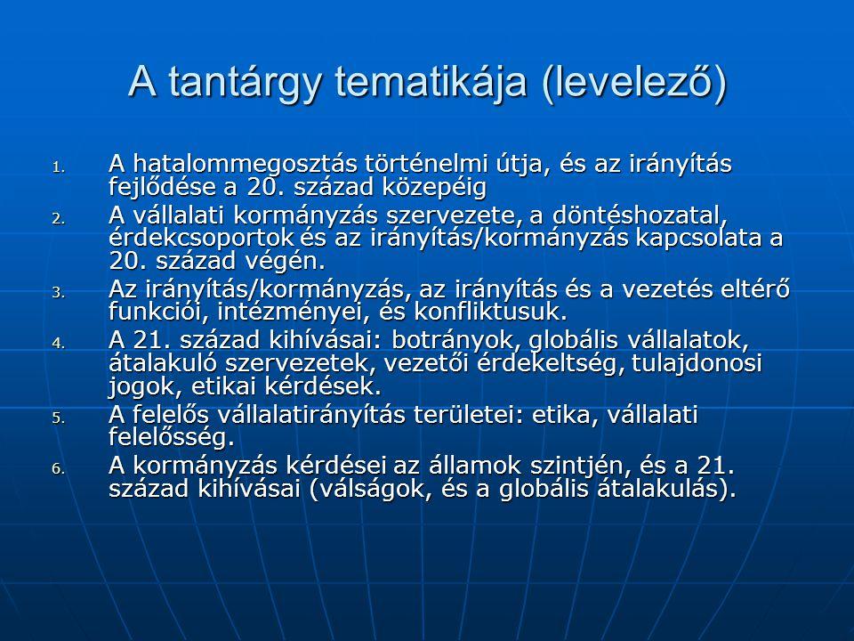 A tantárgy tematikája (levelező)