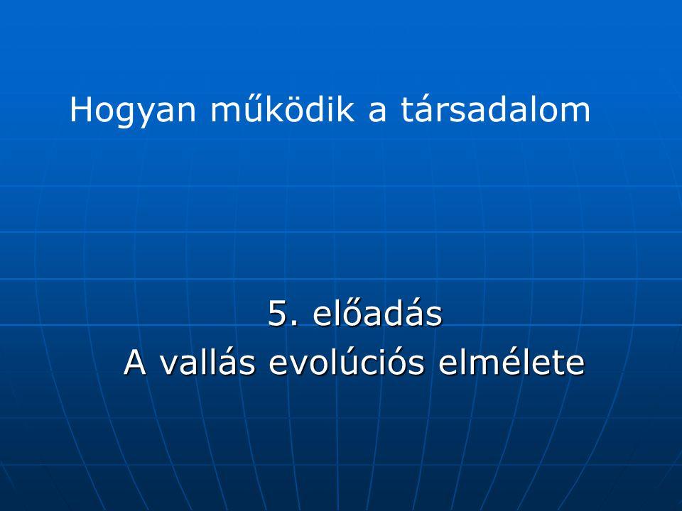 5. előadás A vallás evolúciós elmélete