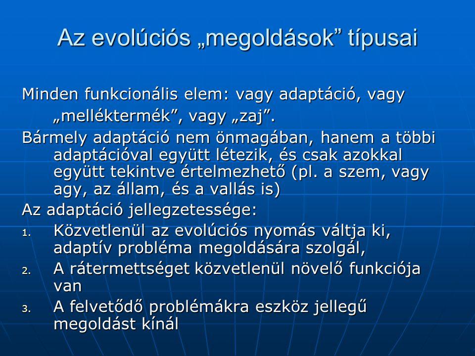 """Az evolúciós """"megoldások típusai"""