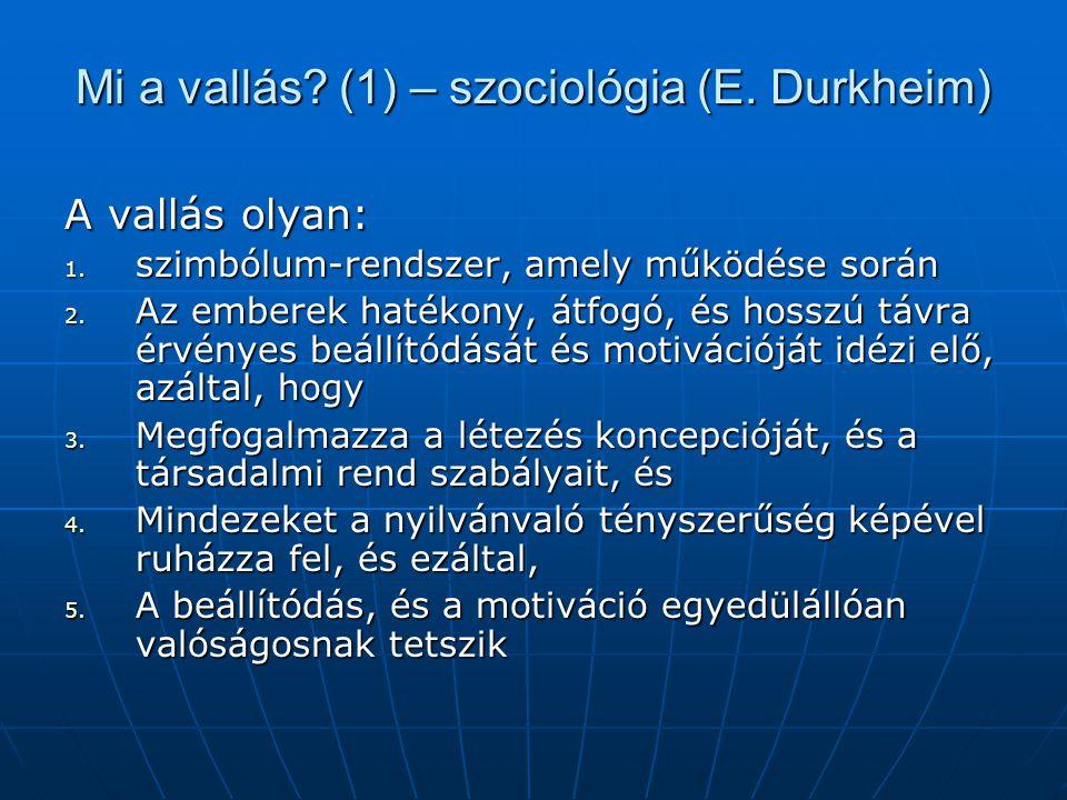 Mi a vallás (1) – szociológia (E. Durkheim)