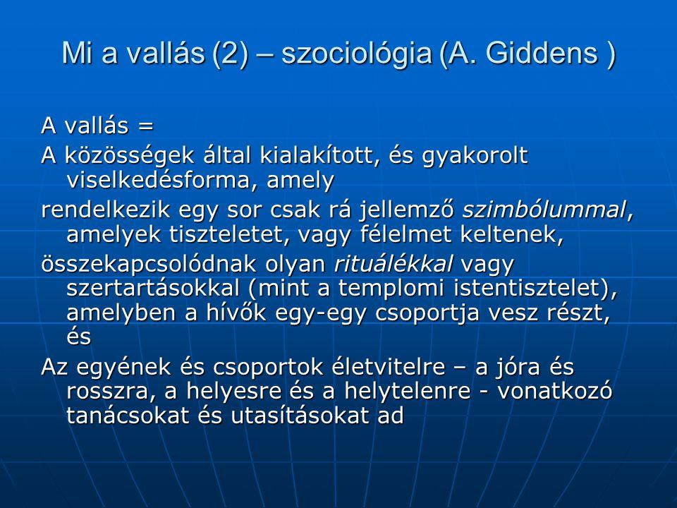 Mi a vallás (2) – szociológia (A. Giddens )
