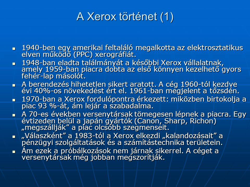 A Xerox történet (1) 1940-ben egy amerikai feltaláló megalkotta az elektrosztatikus elven működő (PPC) xerográfiát.