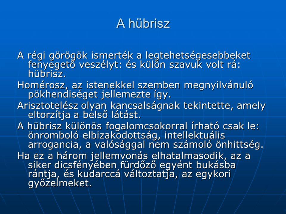 A hübrisz A régi görögök ismerték a legtehetségesebbeket fenyegető veszélyt: és külön szavuk volt rá: hübrisz.