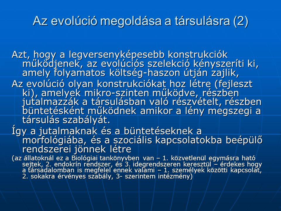 Az evolúció megoldása a társulásra (2)