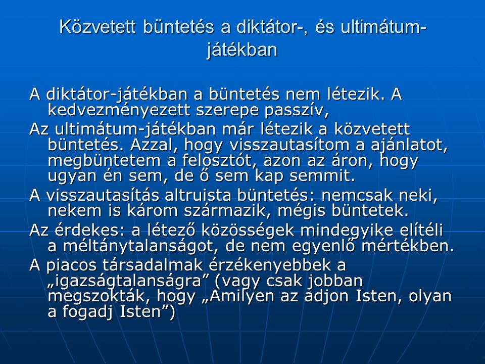 Közvetett büntetés a diktátor-, és ultimátum-játékban
