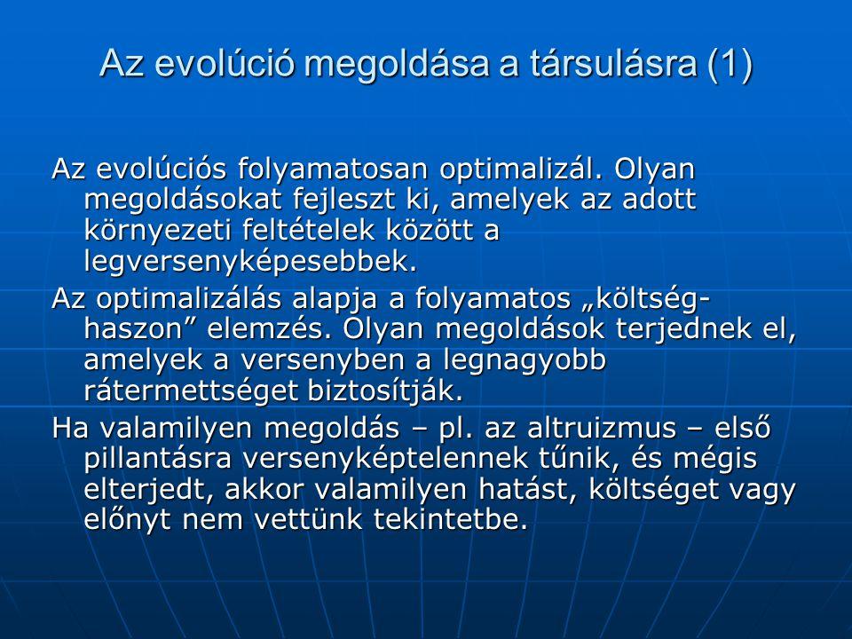 Az evolúció megoldása a társulásra (1)