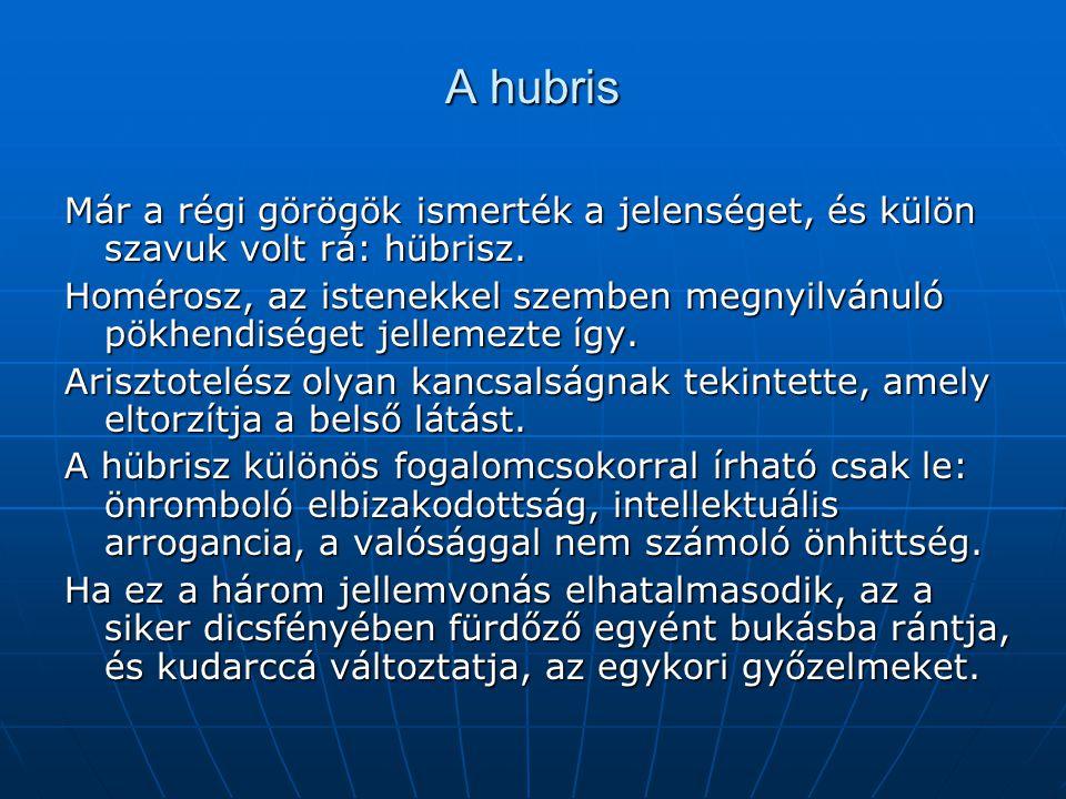 A hubris Már a régi görögök ismerték a jelenséget, és külön szavuk volt rá: hübrisz.